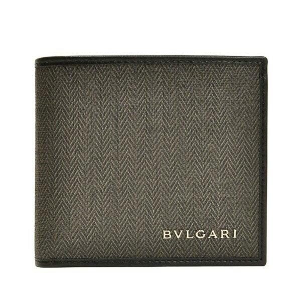 ブルガリ 財布 BVLGARI メンズ 二つ折り財布 ダークグレー PVCxレザー 32581 アウトレット店買付け
