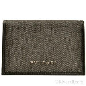 【全品5%OFFクーポン配布中】ブルガリ BVLGARI メンズ 名刺入れ カードケース ダークグレー PVC×レザー 32588 アウトレット