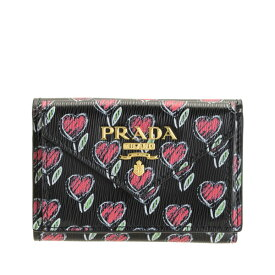 【セール】プラダ PRADA ショップ袋付き 三つ折り財布 ハート アウトレット 1mh021vimolo-nero | さいふ サイフ ウォレット 財布 カード 収納 オシャレ おしゃれ シンプル ブランド レザー