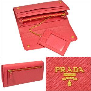 プラダ財布PRADA二つ折り長財布レディースピンクレザー1mh132safmet-peon