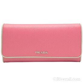 プラダ PRADA 二つ折り長財布 パスケース付き レディース ベゴニアピンクxオフホワイト レザー 1mh132safpip-beta