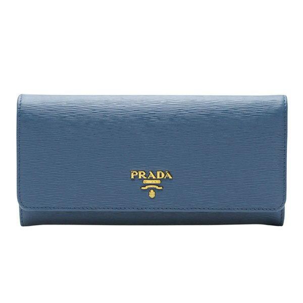 プラダ PRADA 二つ折り長財布 パスケース付き レディース コバルトブルー 型押しレザー 1mh132vitmov-coba セール