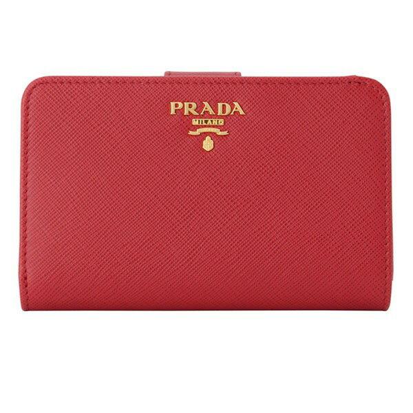プラダ PRADA 二つ折り財布 レディース レッド レザー 1ml225safmet-fuoc