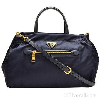 普拉达包PRADA 2Way大手提包女士蓝色尼龙x皮革b1843mtessaf-bleu大手提包
