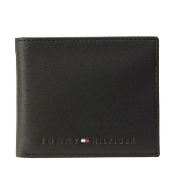 トミーヒルフィガー 財布 TOMMY HILFIGER メンズ 二つ折り財布 ブラック レザー 31tl25x005-001 セール