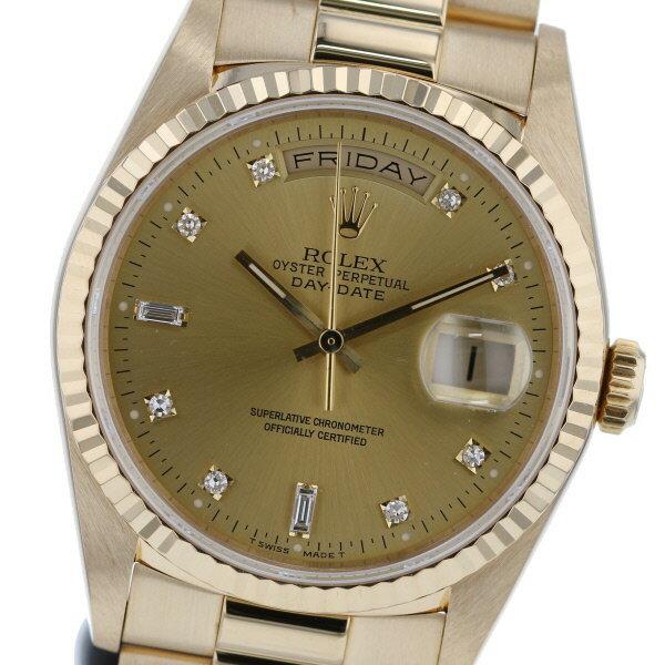 【即日発送】【美品】【中古】 ROLEX (ロレックス) デイデイト シャンパン 10P 時計 自動巻き/メンズ DAY-DATE Gold/ゴールド 18238A used:A