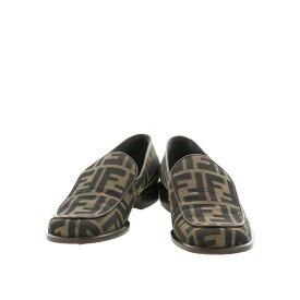 【中古】フェンディ ズッカ メンズ フラットシューズ ブラウン 24.5cm FENDI Zucca Mens Flat Shoes Brown 6.5