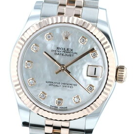 【お値下げ品】【中古】 ROLEX (ロレックス) デイトジャスト 31 MOP 10P Diamond 時計 自動巻き/レディース デイトジャスト MOP/ホワイトシェル 178271NG used:A