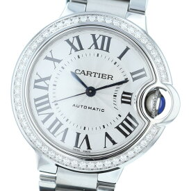 【即日発送・水曜定休日・木曜発送】【美品】【オススメ】【RI】 Cartier (カルティエ) バロンブルー ドゥ カルティエ ベゼルダイヤ 時計 自動巻き/レディース BALLON BLEU Silver/シルバー W4BB0016 used:A