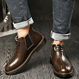 8cmアップ サイドゴアブーツ シークレットシューズ シークレットブーツ ブーツ メンズ ショートブーツ 春 秋