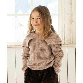 【riziere】ケープ付ニットセーター 100cm 110cm 120cm 130cm 140cm キッズ 女の子 2色 ケープがとってもキュートなニットです。