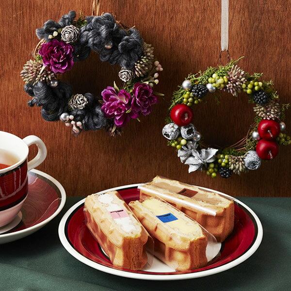 【送料込】クリスマスリース(S)&ワッフルセット(パープルorグリーン)【クリスマス お歳暮】【スイーツ 内祝い 誕生日 ケーキ ギフト】