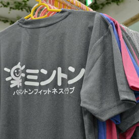 楽ミントン Tシャツ 楽ミントン公式Tシャツ バドミントンウェア バドミントン スポーツ スポーツウェア シャツ 半袖 男女兼用 メンズレディース