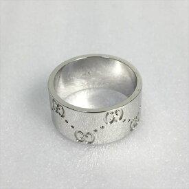 ☆☆【647】【中古】グッチ GUCCI アイコンリング ワイド 14号 K18WG GGリング 指輪 ホワイトゴールド 箱有