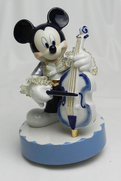 【ディズニー/ミッキーマウス】【陶器/オルゴール/インテリア/レースドール】ディズニー ミッキーマウス コントラバス(ブルー) レースドール オルゴール