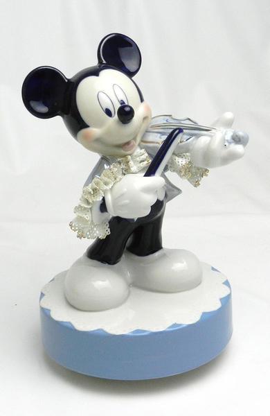 【ディズニー/ミッキーマウス】【陶器/オルゴール/インテリア/レースドール】ディズニー ミッキーマウス バイオリン(ブルー) レースドール オルゴール