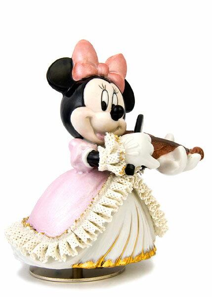 【ディズニー/ミッキー/ミニーマウス】【陶器/オルゴール/インテリア/レースドール】ディズニー ミニーマウス バイオリン弾き(カラー) レースドール オルゴール