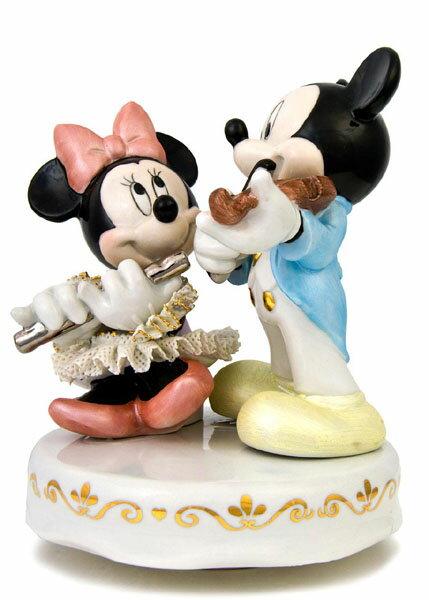 【ディズニー/ミッキー/ミニーマウス】【陶器/オルゴール/インテリア/レースドール】ディズニー ミッキー&ミニー演奏会(カラー) レースドール オルゴール