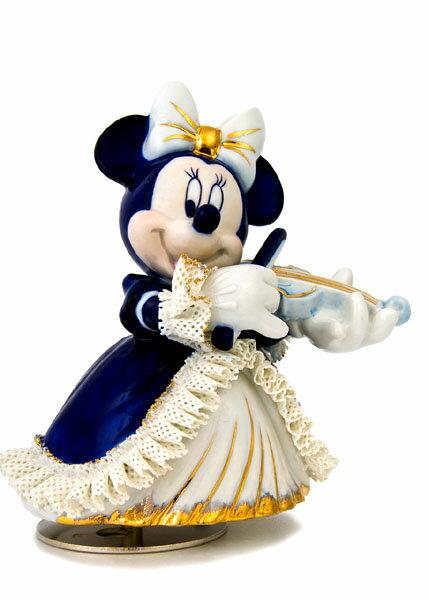 【ディズニー/ミニーマウス】【陶器/オルゴール/インテリア/レースドール】ディズニー ミニーバイオリン弾き(ブルー) レースドール オルゴール