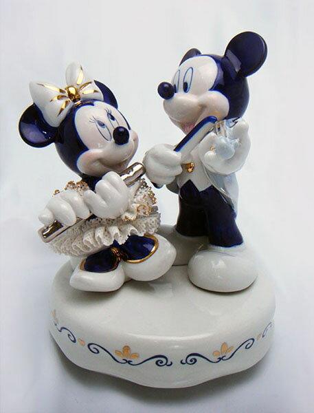 【ディズニー/ミニーマウス】【陶器/オルゴール/インテリア/レースドール】ディズニー ミッキー&ミニー演奏会(ブルー) レースドール オルゴール