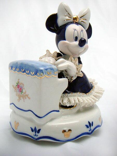 【ディズニー/ミニーマウス】【陶器/オルゴール/インテリア/レースドール】ディズニー ミニーピアノ弾き(ブルー) レースドール オルゴール