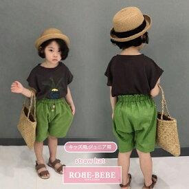 大人気の丸い麦わら帽子 リボンが可愛い!リボン付き麦わら帽子 夏用 ハット つば広 ハット 夏のお出かけ 子供帽子 オフー&ブラウン 51~54cm robe bebe ローブベベ robeacc0008