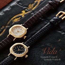 VIDA+ Curious 腕時計 レディース 革ベルト リザード 華奢 かわいい おしゃれ アンティーク調 ヴィンテージ調 上品 人気 おすすめ ギフト クリスマス プレゼント 女性 誕生日 30代 40代 50代 60代 時計 日本製 ゴールド ブラック ブラウン V-004 ヴィーダプラス 送料無料