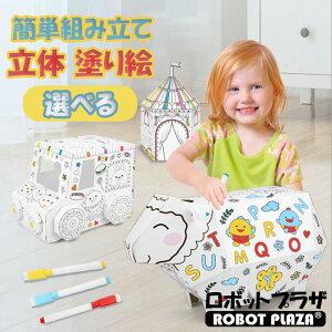 組み立て 塗り絵 紙工作 お絵かき ペン付属 立体 ぬりえ 色塗り 手作り 組立 組み立てセット ペーパークラフト 描き 子供 認知 パズル 教育 知育 おもちゃ 絵具 子ども こども 男の子 女の子
