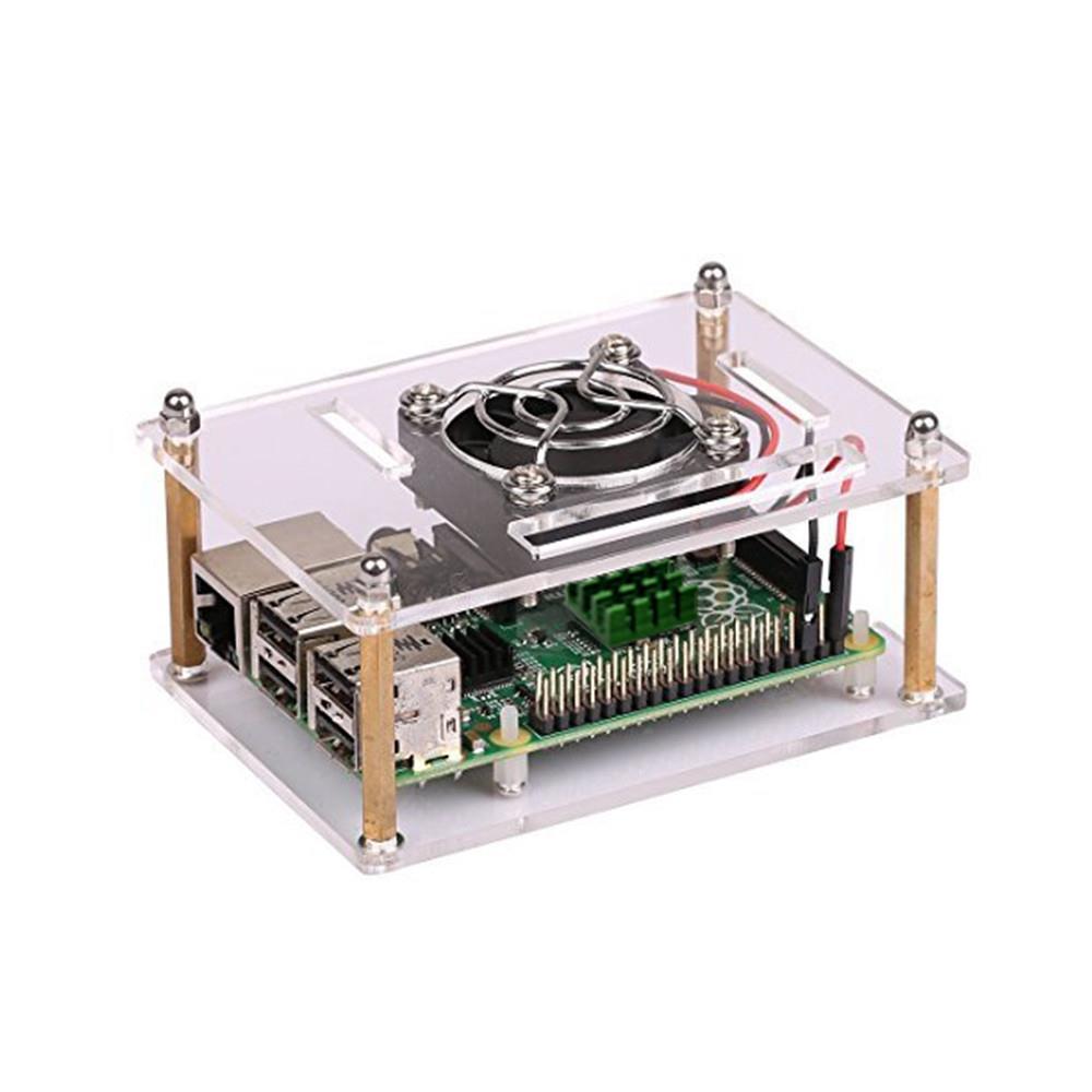 アクリルクリア エンクロージャ Raspberry Pi用冷却ファンと5V電源付き