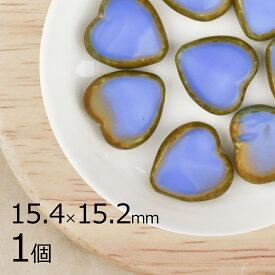 【今だけポイント20倍】チェコビーズ ハート ガラスビーズ/ハート型 テーブルカット/オパックブルー 青系 ブルー/1個 15.4mm×15.2mm/パーツ アクセサリー ハンドメイド 手芸 材料 ピアス イヤリング 素材 手作り ヴィンテージ