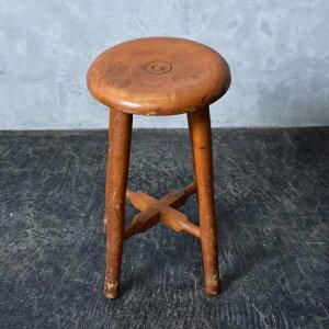 IZ40713Y★ヴィンテージ スツール 古い木製 無垢材 ジャパン ビンテージ 国産 古民具 和モダン ウッド チェア ダイニング 民芸 椅子 踏み台