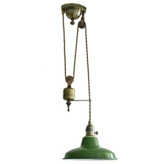 pulley pendant lighting. elevating pulley pendant lamp antique retro cafe indirect lighting brass enamel taisho lights design