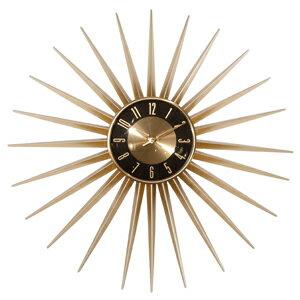 【送料無料】Emits Time エミッツタイム ウォールクロック(壁掛け時計 ミッドセンチュリー モダン レトロデザイン 大型 太陽 ゴールド 大きい時計 男性 インテリア とけい アンティーク 壁かけ時計 秒針なし 高級感 カフェ 60年代)