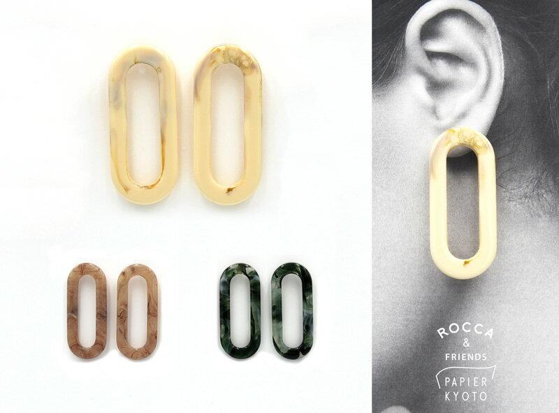 ROCCA&FRIENDS ロッカアンドフレンズ アクリル デザイン ピアス 楕円  マーブル ニュアンスカラー 大人可愛い