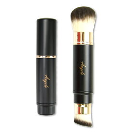 Angalo メイクブラシ ファンデーションブラシ チークブラシ 2way 携帯用 化粧筆 高級 タクロン 100% 肌に優しい やわらかい 1本6役 多機能 洗える