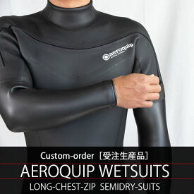 ウェットスーツ セミドライ ロングチェストジップ カスタムオーダー メンズ レディース インナー 5×3mm rock5surf スキン ラバー SEMIDRY 冬用 寒冷地 サーフィン 保温 起毛 素材 防寒 SMLXLBサイズ Aeroquip エアロクイップ