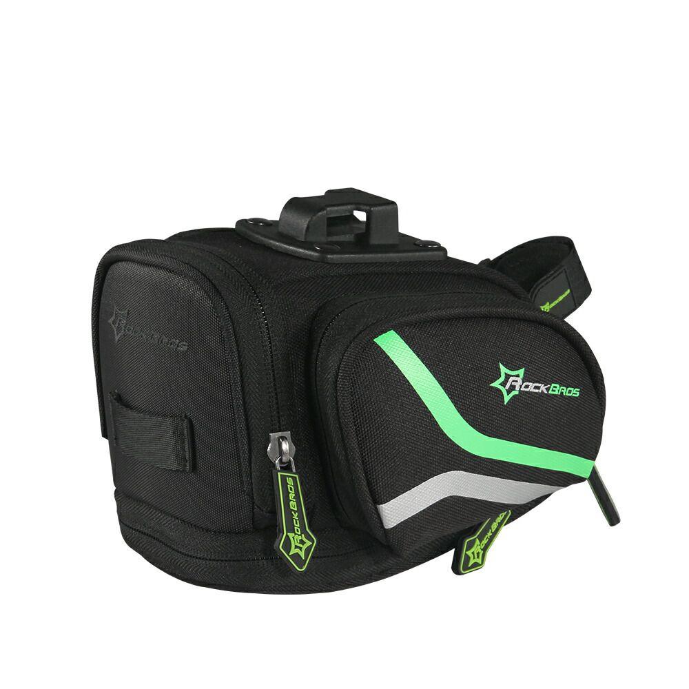 自転車 サドル パック シート バッグ レインカバー付き 黒緑 ROCKBROS(ロックブロス)【雨対策】バッグ