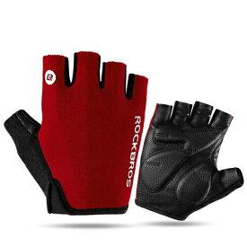 サイクルグローブ ハーフフィンガー 肉厚パッド レッド ROCKBROS(ロックブロス)半指グロープ ハーフフィンガー手袋