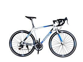 TRINX-TEMPO エントリーモデル SHIMANO21SPEED 軽量アルミフレーム 通勤通学に ロードバイク 700C 入門用 補助ブレーキ付き クイックリリース ホワイト/ブラック/ブルー【bicycle_d19】