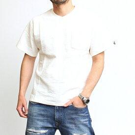 アコースティック Acoustic ブロックインレー Tシャツ 半袖 無地Tシャツ Vネック ポケット付き ピスネーム スラブ 厚手 おしゃれ メンズ 男性 ブランド カジュアル アメカジ トラッド ヴィンテージ 2020年 春夏 ブラック 黒 カーキ オリーブ オフホワイト 白(66-ac21002)
