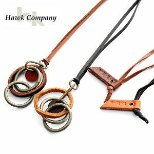 【あす楽対応】【メール便OK】ホークカンパニー Hawk Company フォコン FAUCON ネックレス メンズ レディース ユニセックス ブランド アクセサリー レザー トリプルリング 3連 リング 革ひも 革紐