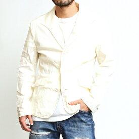 テーラードジャケット 綿麻 イタリアンカラー メンズ レディース ユニセックス ライトアウター ジャケット 薄手 スリムシルエット 細身 シンプル 上品 おしゃれ カジュアル アメカジ 綺麗め トラッド ビジネス フォーマル ベージュ キナリ ホワイト 2020年 春夏 (30-303002h)