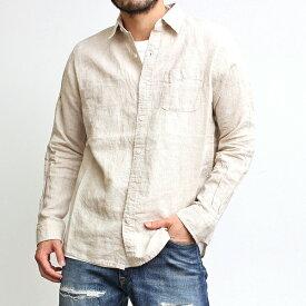 リネンシャツ メンズ ユニセックス 長袖 カジュアルシャツ フレンチリネン 麻100% 無地シャツ シンプル 上品 カジュアル 綺麗め ビジネス ビジカジ フォーマル 2020年 春夏 ブラック 黒 生成り ベージュ オフホワイト 白 ミントグリーン ネイビー 紺色 (30-304014h)