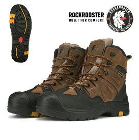 ROCKROOSTER メンズ ワークブーツ ブーツ 樹脂先芯 ウォータープルーフ セーフティーシューズ レザーブーツ コンフォート クールマックス COOLMAX (AK669:WOODLAND) 送料無料 ライダー ライダーブーツ エンジニアブーツ 革靴  ワーク