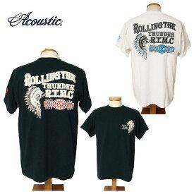 【SALE・セール】 ACOUSTIC アコースティック Tシャツ メンズ ROLLING THE THUNDER 半袖Tシャツ ac9210