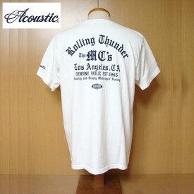 【SALE・セール】 アコースティック Tシャツ ACOUSTIC メンズ Rolling Thunder 半袖Tシャツ ac9213 - ホワイト