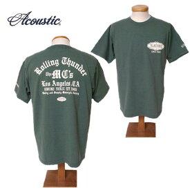 【SALE・セール】 アコースティック Tシャツ ACOUSTIC メンズ Rolling Thunder 半袖Tシャツ ac9213 - カーキ