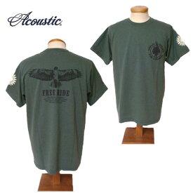 【SALE・セール】 アコースティック Tシャツ ACOUSTIC メンズ FREE RIDE 半袖Tシャツ ac9208 - カーキ