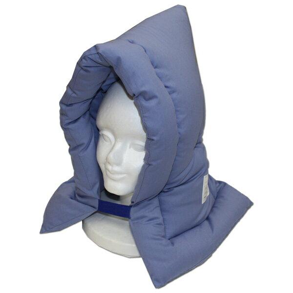 防災クッション 防災頭巾 小学生から大人向け AR 側サイズ:約32cm×50cm [ブルー無地] 防災ずきん/学校用品/安心の日本製