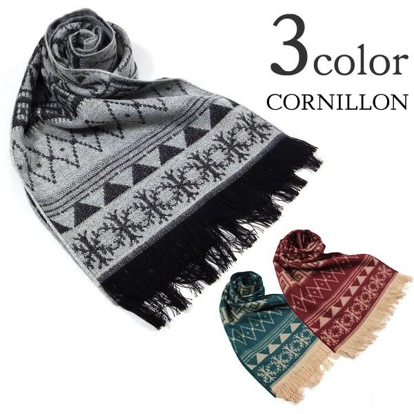 【70%OFF】CORNILLON(コルニオン) スノーフレーク柄マフラー / メンズ レディース【セール】